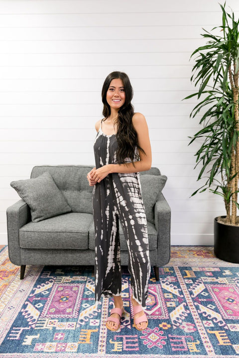 Charcoal Tie Dye Woven Jumpsuit - SHOPTHRIVER