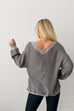 Double V Waffle Knit Top In Gray - ALL SALES FINAL - SHOPTHRIVER