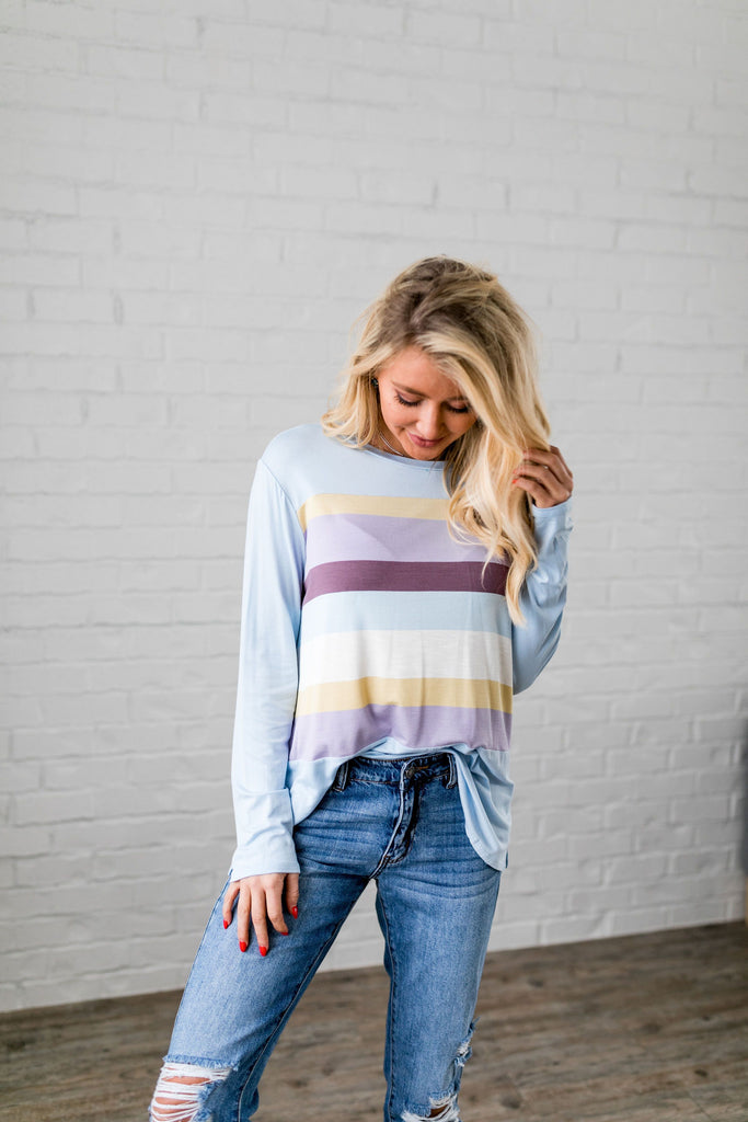Easter Striped Top In Baby Blue - SHOPTHRIVER