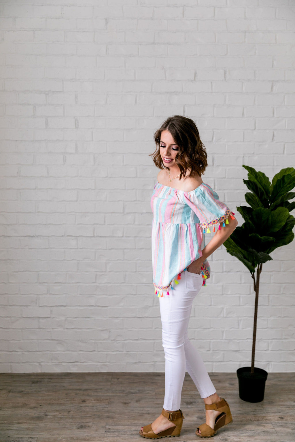 Fiesta Fringed Off The Shoulder Top - SHOPTHRIVER