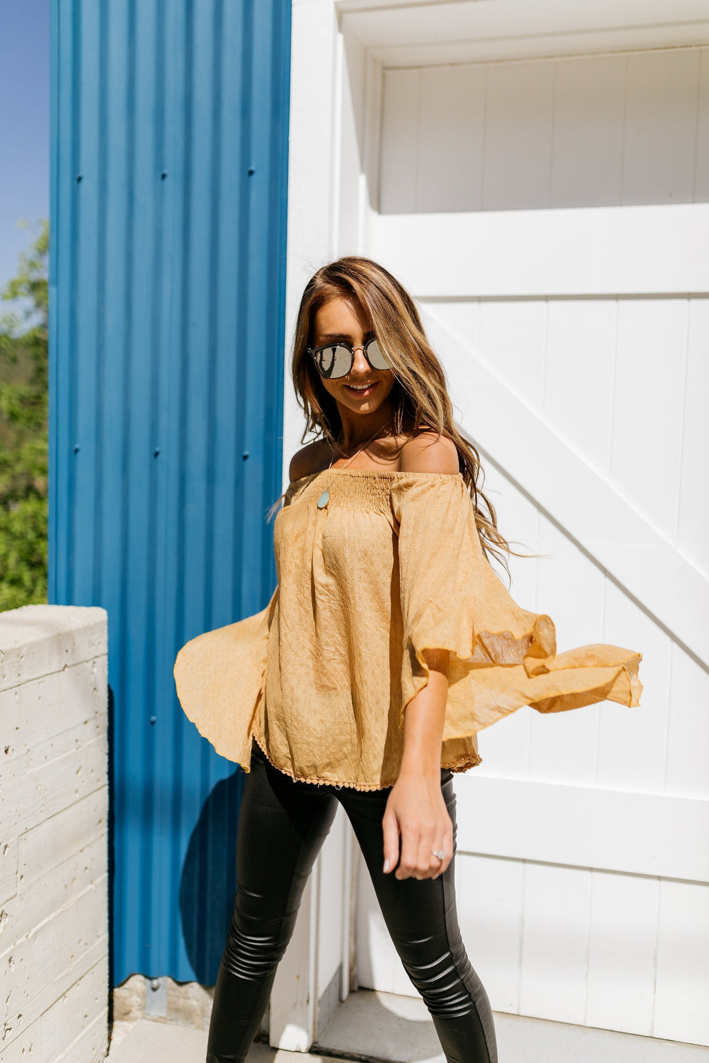 Flirty Flounce Top In Golden Honey - SHOPTHRIVER