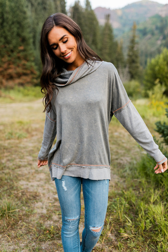 Free Spirit Cowl Neck Top In Ash Gray - SHOPTHRIVER