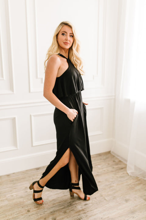 Layered Halter Maxi In Black - SHOPTHRIVER