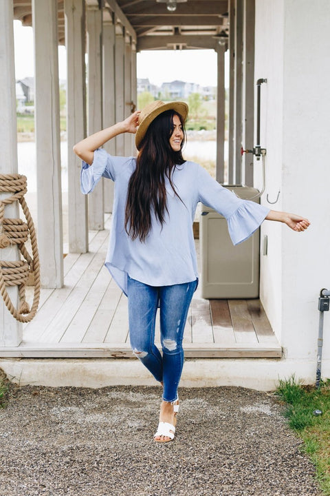 Linen-Like Trumpet Sleeve Blouse In Pale Blue - SHOPTHRIVER