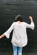 Linen-Like Trumpet Sleeve Blouse In White