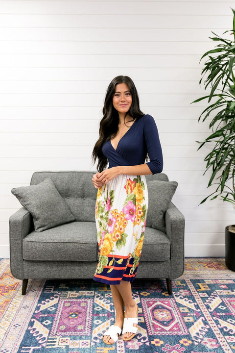 Navy + Floral Faux Wrap Dress - SHOPTHRIVER