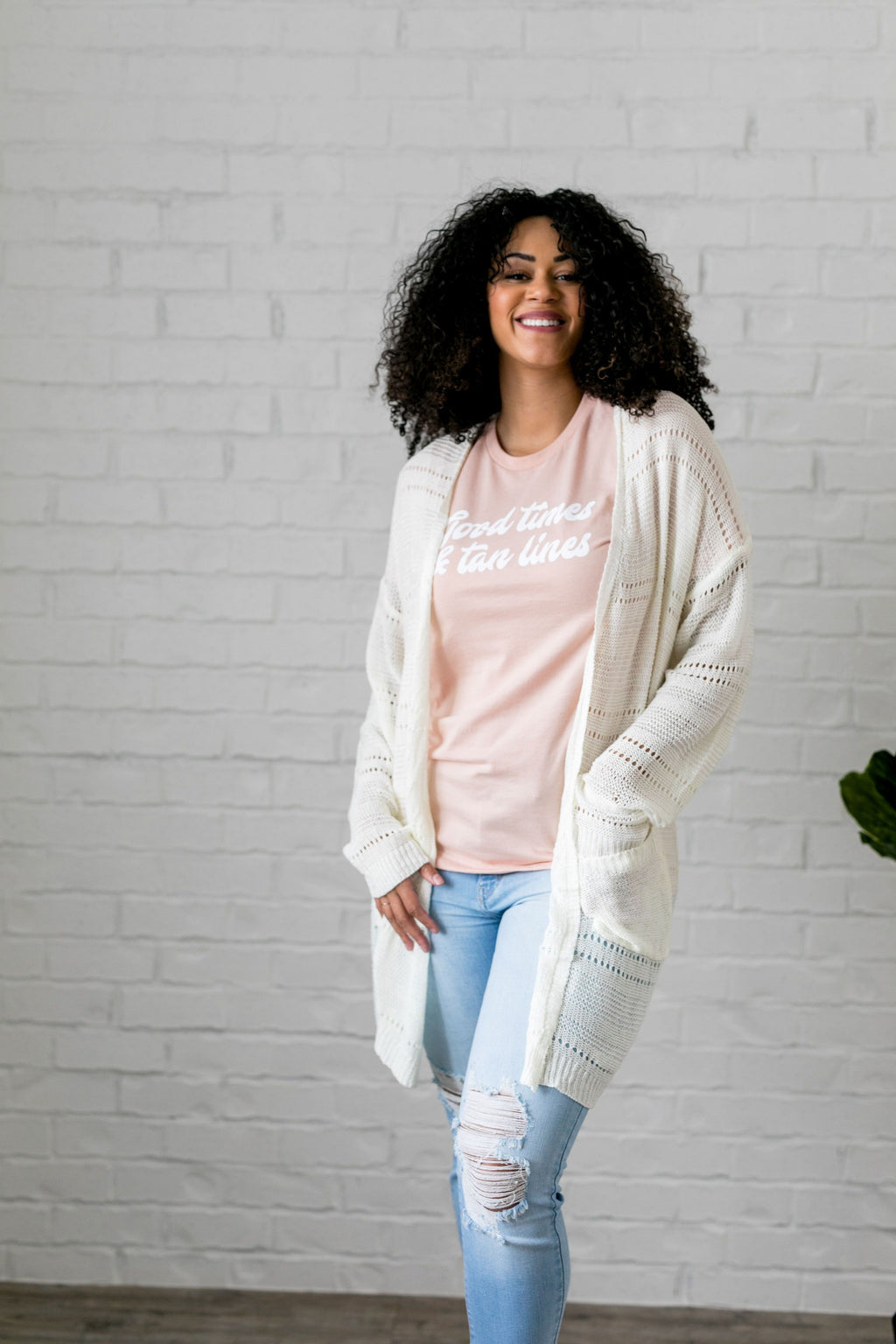 Open Knit Cardi In Pearl - SHOPTHRIVER