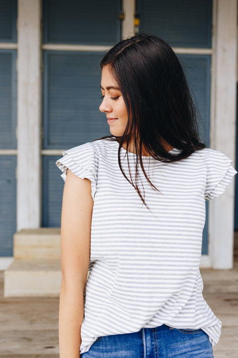Striped Double Ruffle Top In Gray + White