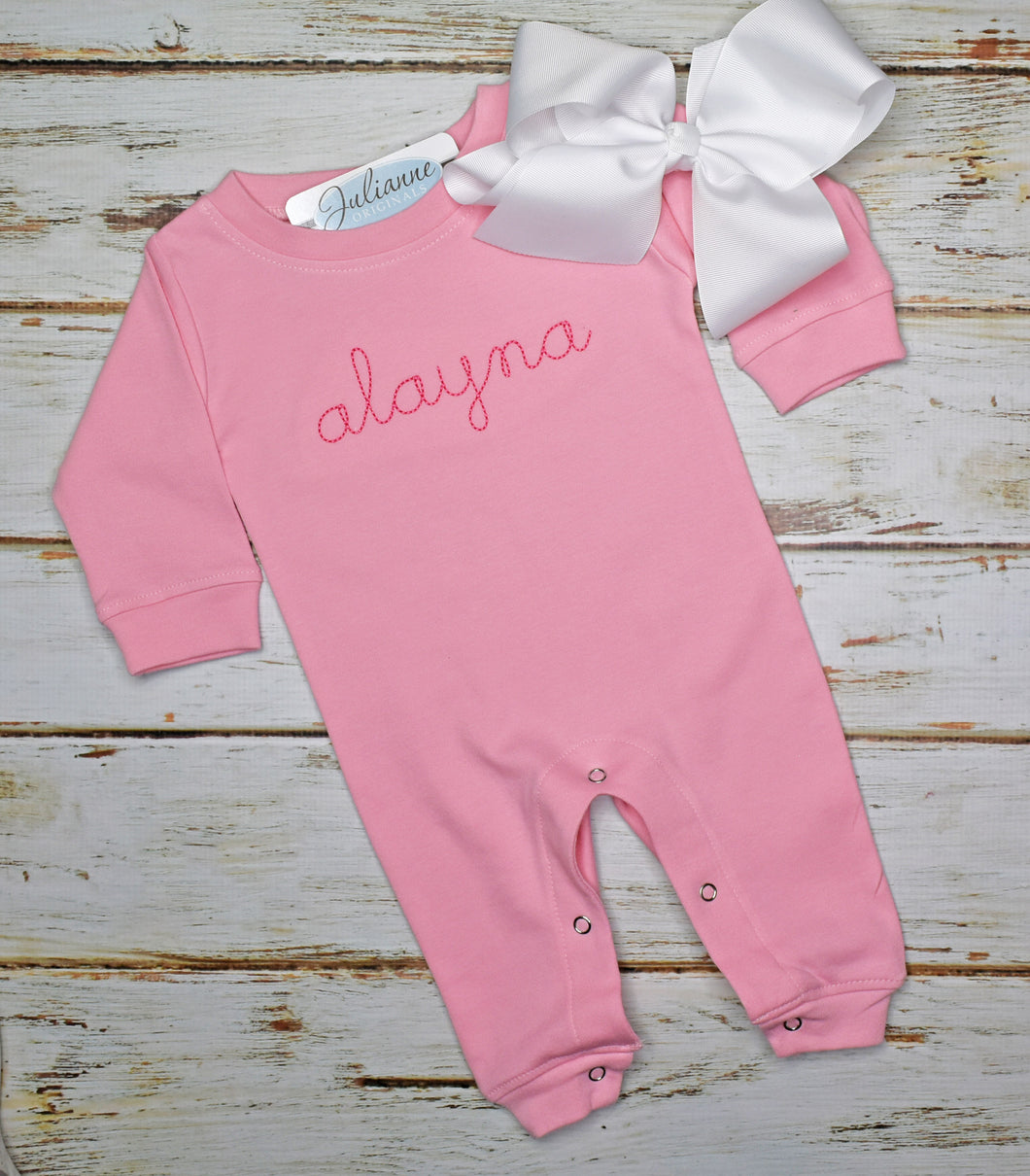 Infant Monogram Romper - Pink