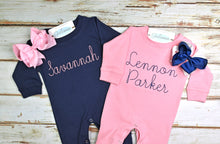Pink or Navy Infant Girls Romper