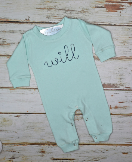 Infant Monogram Romper - Green