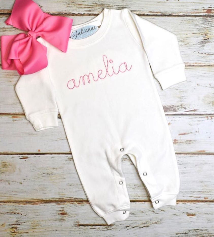 Infant Monogram Romper - White