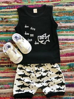 Shark Print Sleeveless Set