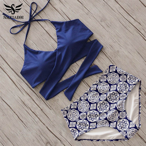 BLUE AND FLOWERY BOTTOM BIKINI SET