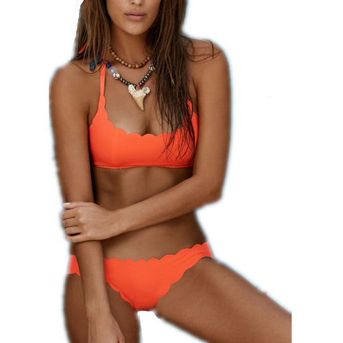 ORANGE SOLID COLOR BIKINI SET