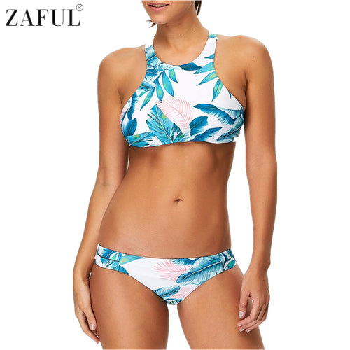 BLUE & PINK FLOWERY HIGH NECK BIKINI SET