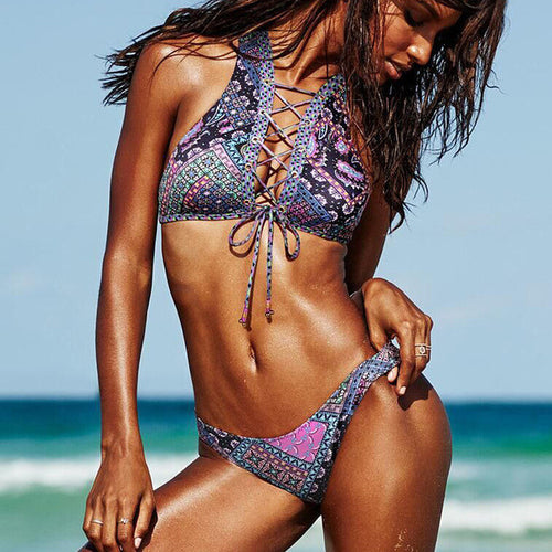 PURPLE BRAZILIAN LACE UP BIKINI SET