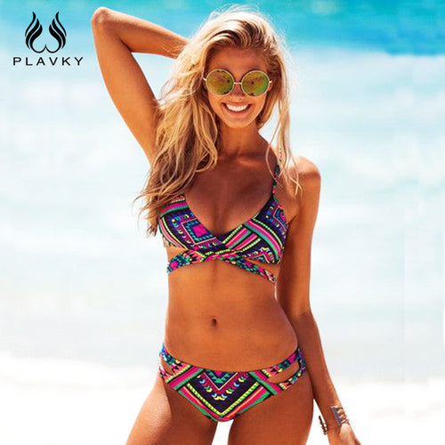 MULTI-COLORED BANDEAU BIKINI SET