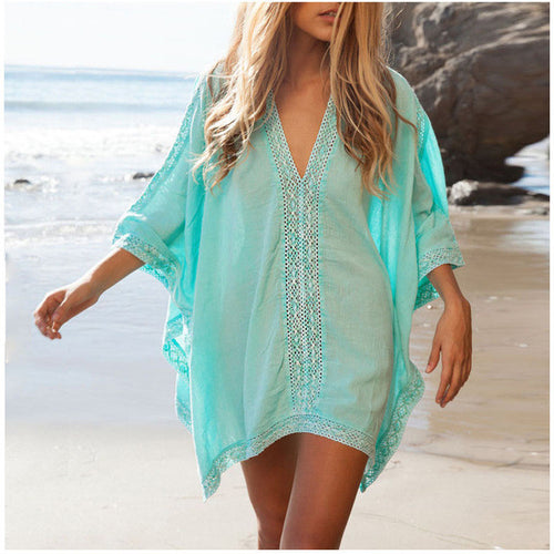 V-NECK LACE BEACH COVER UP