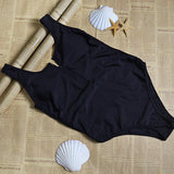 HIGH WAIST ZIPPER ONE PIECE SWIMSUIT