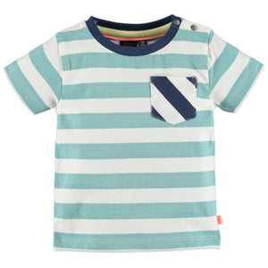 Babyface Baby Boys Striped Short Sleeve T-Shirt - Turquoise - Bloom Kids Collection - Babyface