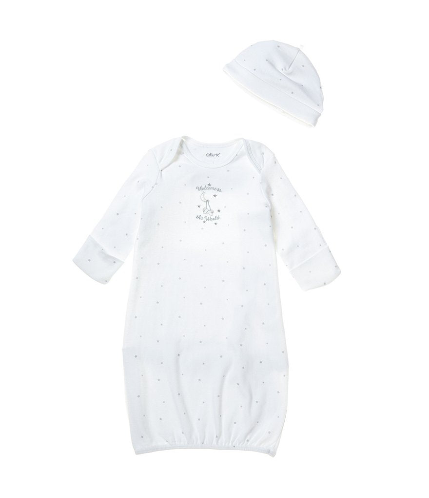 Little Me Welcome World Gown and Hat - Bloom Kids Collection - Little Me