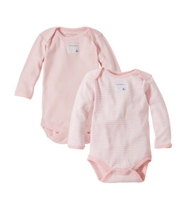 Burt's Bees Bee Essentials Organic Long Sleeve Bodysuits (2 Pack) - Blossom