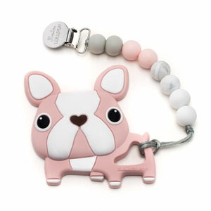 Loulou Lollipop Teether - Boston Terrier Pink with Holder - Bloom Kids Collection - Loulou Lollipop