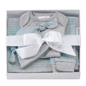 Mud Pie Grey Blue 4PC Gift Set