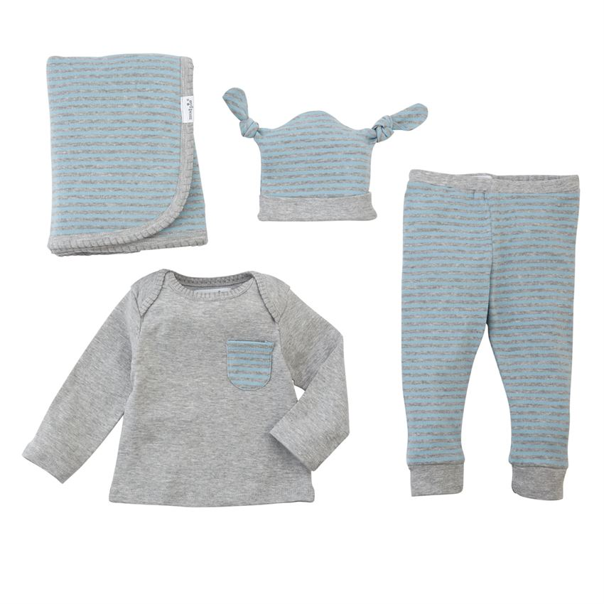 Mud Pie Grey Blue 4PC Gift Set - Bloom Kids Collection - Mud Pie