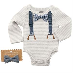 Mud Pie Interchangeable Bowtie Crawler - Chambray