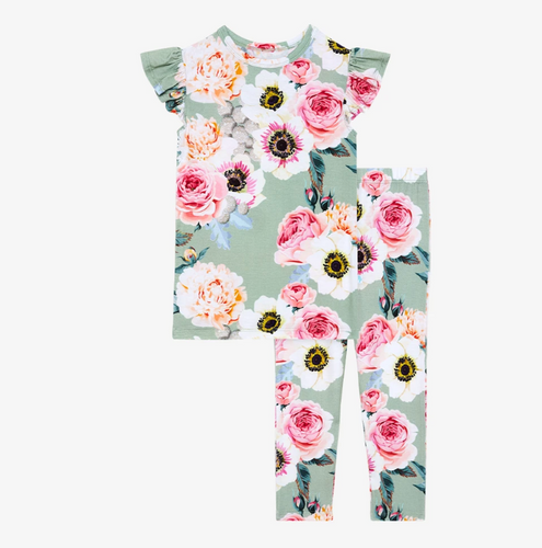 Posh Peanut Ruffled Cap Sleeve Loungewear - Jolie - Bloom Kids Collection - Posh Peanut
