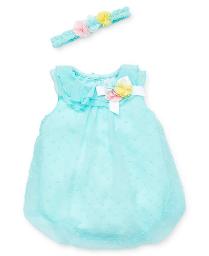 Little Me Aqua Texture Bubble Dress - Bloom Kids Collection - Little Me