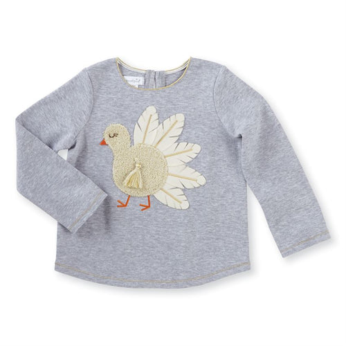 Mud Pie Gray Turkey Tee - Bloom Kids Collection - Mud Pie