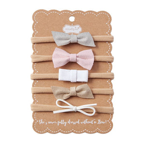 Mud Pie Leather Bow Headband Set
