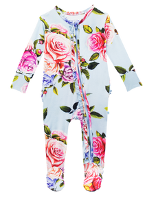 Posh Peanut Footie Ruffled Zippered One Piece - Country Rose
