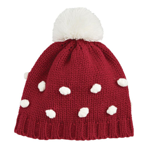 Mud Pie Popcorn Knit Hat - Red