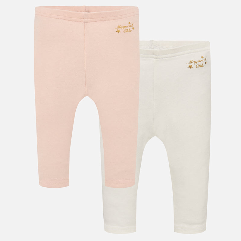 Mayoral Cotton Leggings 2 Pack - Blush/Ivory - Bloom Kids Collection - Mayoral