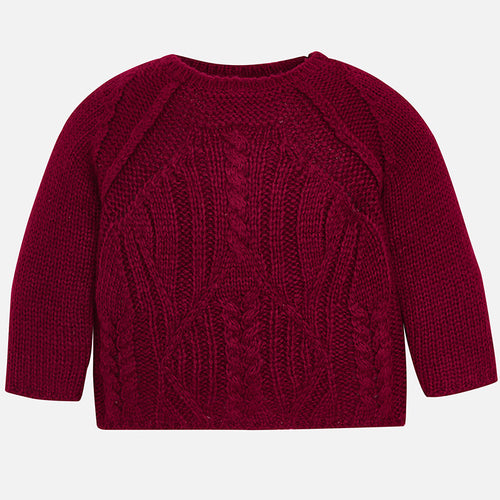 Mayoral Cable Knit Sweater - Raspberry