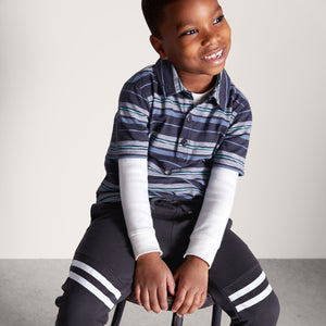 Tea Collection Patterned Polo - Painted Stripe - Bloom Kids Collection - Tea Collection