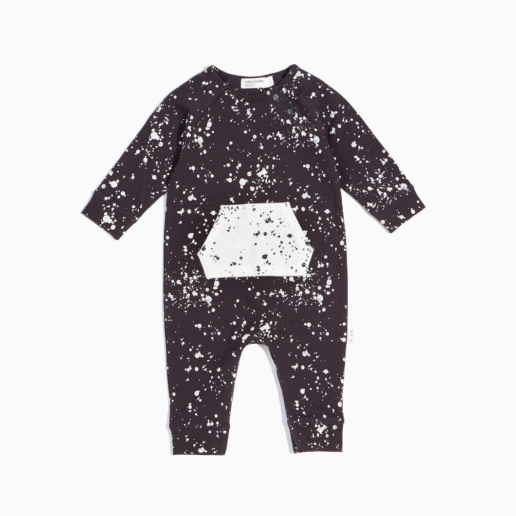 Miles Baby Grey Playsuit with White Splatter - Bloom Kids Collection - Miles Baby
