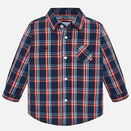 Mayoral Long Sleeve Poplin Check Shirt - Prusia - Bloom Kids Collection - Mayoral