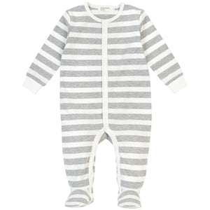 Miles Baby Grey and White Stripe Sleeper - Bloom Kids Collection - Miles Baby