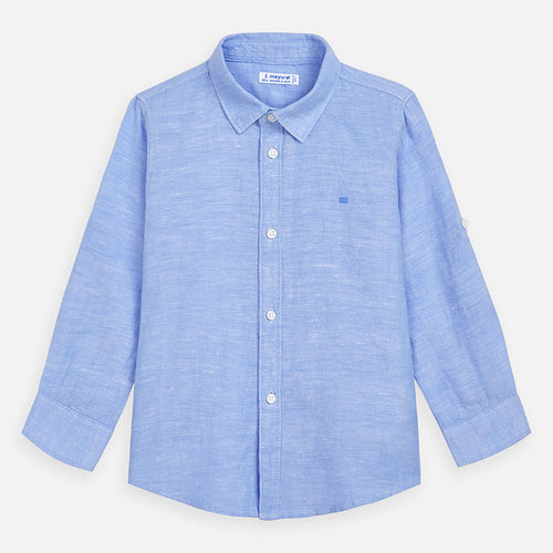 Mayoral Boy Linen Shirt - Light Blue