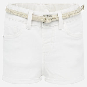 Mayoral Baby Girl Belted Shorts - White