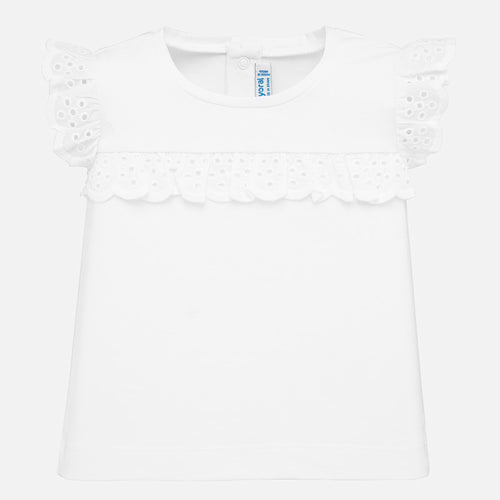 Mayoral Baby Girl Ruffle Sleeve Tee - White