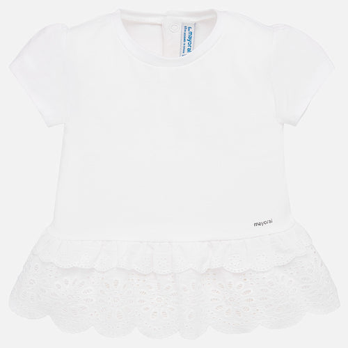 Mayoral Baby Girl Ruffle Hem Top - White - Bloom Kids Collection - Mayoral