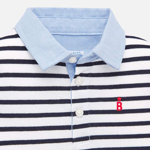 Mayoral Baby Boys Striped Polo - Navy
