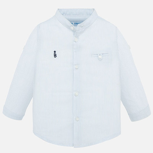 Mayoral Baby Boy Collar Stripe Shirt - Light Blue