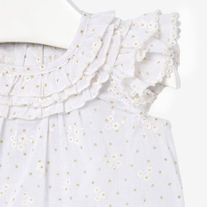 Mayoral Baby Girl Ruffled Sleeve Top - White - Bloom Kids Collection - Mayoral